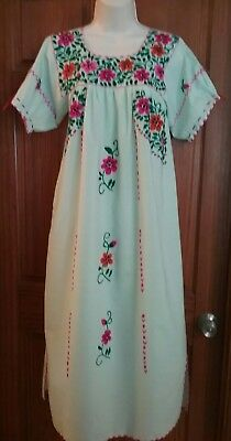 Traditional Oaxacan Mexican Maxi Dress, New, Sage Green Hand Made & Yarn Flowers
