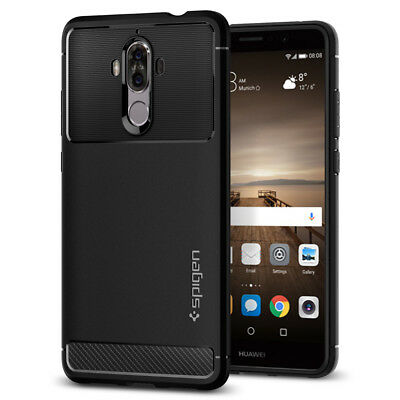 For Huawei Mate 9   Spigen® [Rugged Armor] Black Protective Soft TPU Cover Case