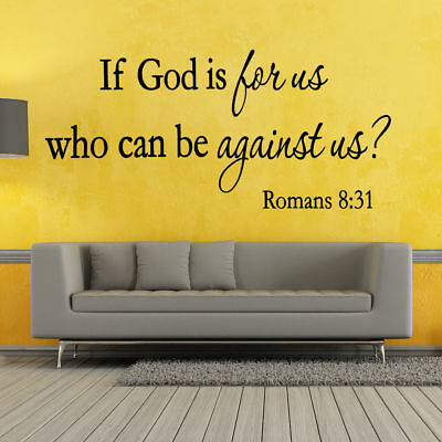 Romans 8:31 Bible Verse Vinyl Wall Stickers Decals Scripture Word Quote Decor