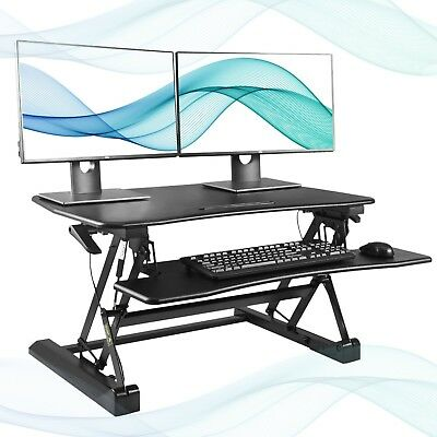 FEZIBO Black Height Adjustable Standing Desk 36' Stand Up Converter | Sit To