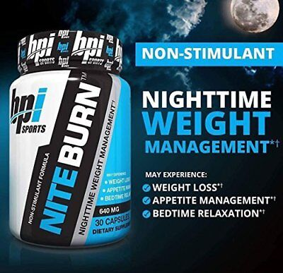BPI Sports Nite-Burn 60 Cap Nite Fat Burner Burn b4 nighttime t shirt FREE POST