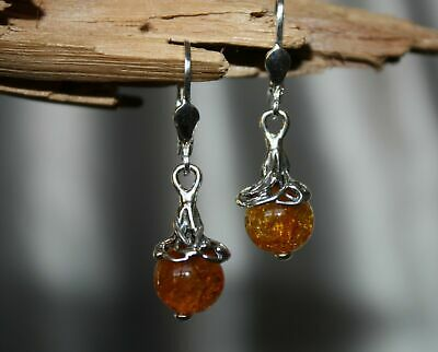 Baltic Amber Earrings Unique Milky Color 925 Sterling Silver - Butterscotch