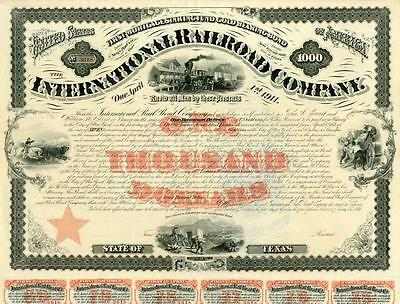 1871 International Railroad Co Bond Certificate