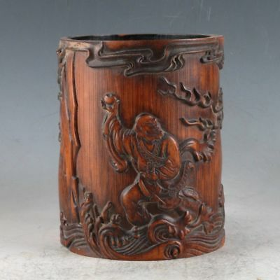 Chinese Bamboo Wood Hand Carved Exquisite Dragon Lohan BrushPen