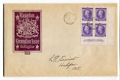 Canada FDC 1953 Coronation Plate Block - Unusual Large Format Cover - Toning