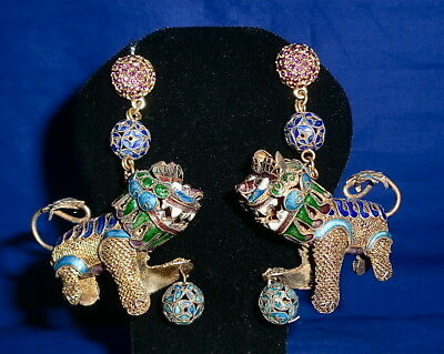 Chinese Foo Dog Filigree & Enamel Cloisonne Earrings Articulated Head