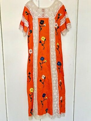 Vintage Short- Sleeved Mexican Oaxaca Long Embroidered Dress with trim-Orange!