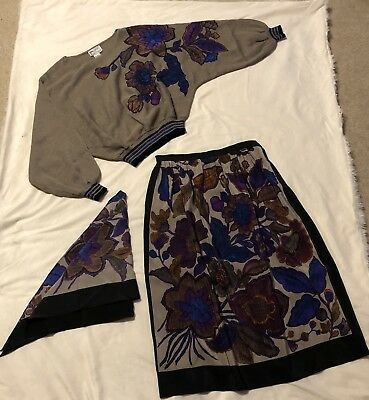 ANNE CRIMMINS Umi Collections VINTAGE VTG Silk 3 Pcs Printed Skirt Set Outfit I2