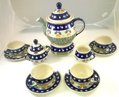 Complete Polish Tea Set for Four. Winter Pattern, hand-painted in Boleslawiec!