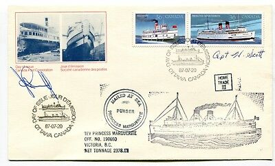 Canada FDC 1987 Steamships Issue Carried & Signed Aboard TEV Princess Marguerite