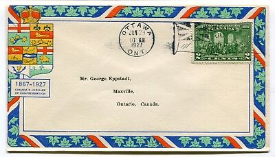 Canada FDC 1927 Confederation Issue - George Eppstadt - Patriotic Cachet Cover