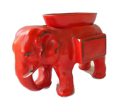 ELEPHANT Vintage PAINTED RED with Removable Basket Insert CZECHOSLOVAKIA