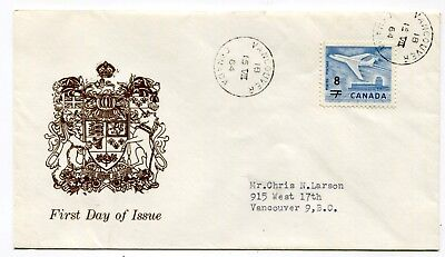 Canada FDC 1964 Airmail Issue Revalue - Vancouver BC CDS - Coat of Arms Cachet