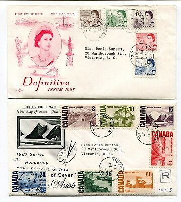 Canada FDC 1967 QEII Centennial Issue - Set on Pair of Rose Craft Cachet Covers