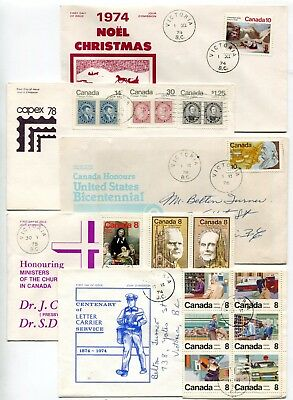 Canada FDC 1974-1978 Group of Five Brickley-Jones Cachet Covers - Lot # 3 of 3