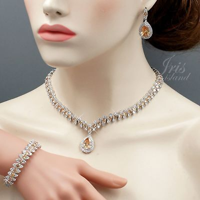 White Gold Plated Topaz Cubic Zirconia Necklace Bracelet Earrings Jewelry Set 32