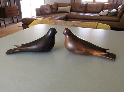 Vintage Marked Danish Teak Bird  Sculptures Mid Century Modern