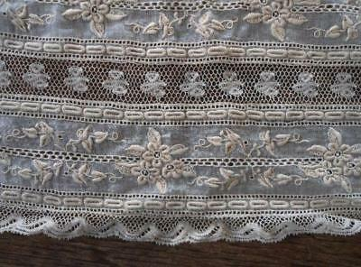 Vintage Normandy Lace Dress Bodice Trim Embroidered Ecru Collar
