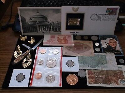 Junk Drawer Coin Lot+Half Dollar+Old Banknote+$Knife+Jewelry+Copper+Gold Stamp
