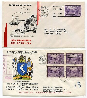 Canada FDC 1949 Halifax Bicentennial - Two Different Cachet Covers -