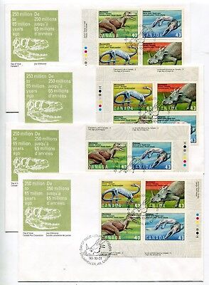 Canada FDC 1993 Dinosaur Issue - Matched Set of Plate Blocks - Post Office Cvrs
