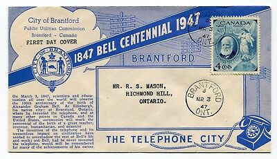 Canada FDC 1947 Alexander Graham Bell - Telephone - City of Brantford Cover -