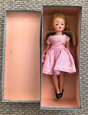 "Vintage 1958 MADAME ALEXANDER Doll CISSETTE #801 9"" Pink DRESS Blonde HAIR w BOX"