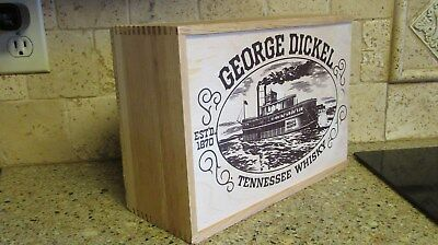 Vintage George Dickel Wood Box Tennessee Whiskey Belle & Calhoun Riverboat