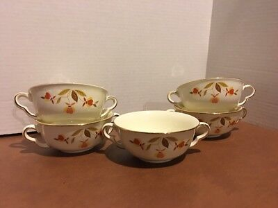 Five Hall Jewel Tea Autumn Leaf Cream Soup Bowls Two Handled