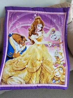 Disney Purple Beauty & The Beast Cot Quilt Or Playmat Handmade NEW
