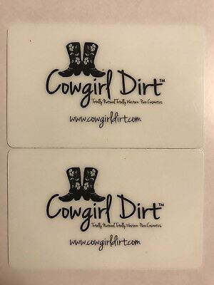 Cowgirl Dirt Organic Makeup Gift Card Lot Of 2 $15 $30 Total
