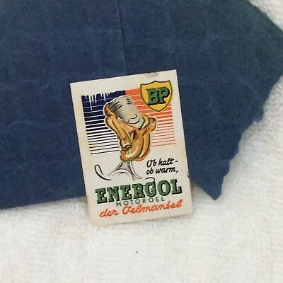 "ENERGOL (BP) Oil Advertising VTG Stamp, Sticker 1.25"" x 1.75"" German (?)"