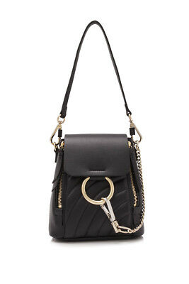 7a43dcac7aaaa NEW CHLOE FAYE Mini textured-leather and suede backpack – Black ...