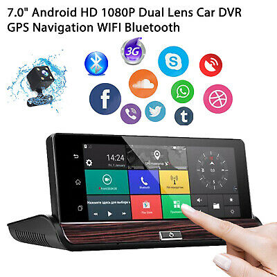 "New 7"" Dual Lens Camera HD 1080P Car DVR GPS Navi Dash Cam 3G+Wifi 16G G-sensor"