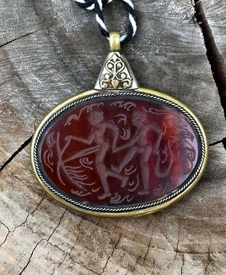 Roman Pendant Agate King Intaglio Carnelia Lucky Stone Oval Neck Lovely Ancient