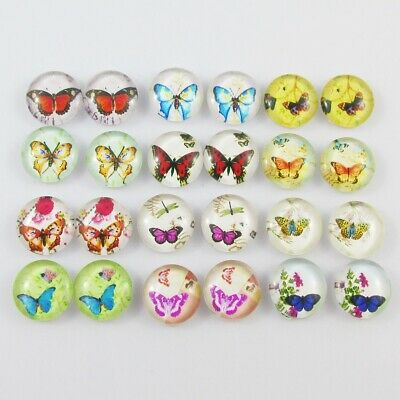 Glass Dome Butterfly Cabochon 12mm Select 10 or 20 pieces in random pairs