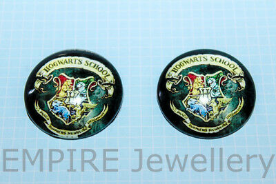 1 x Harry Potter Hogwarts Crest 25x25mm Glass Dome Cabochon Cameo Badge School