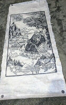 Large Vtg Tibetan Buddhist Woodblock Print On Paper Mongolian Tibet Lohan? Asian