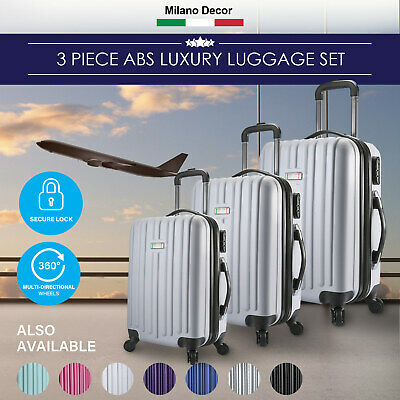Milano Deluxe 3pc ABS Luggage Suitcase Luxury Hard Case Shockproof Travel Set