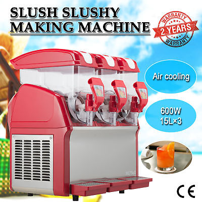 3 x 15L 600W Slushy Machine Slush Making Machine Frozen Drink Machine 45L.