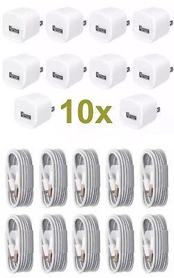 10X USB Home AC Wall Charger + Data Sync Cable Cord for iPhone 7 iPhone 8 6 X 5