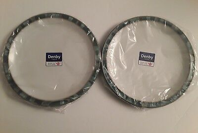 Denby Azure Coast 2 Dinner Plates Made In England New