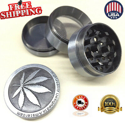 4 Piece Metal Chromium Tobacco Herb Grinder Spice Herbal Alloy Smoke Crusher