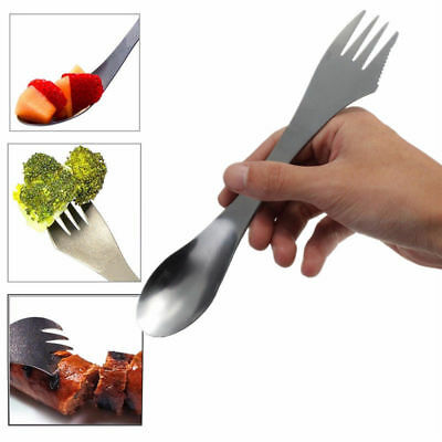 Portable Outdoor Camping Picnic Spoon Fork Cutter 410 stainless steel Spork Tool