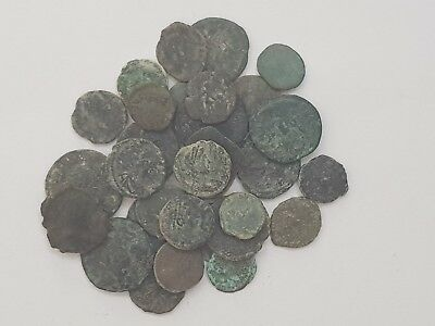 Lot Of 30 Ancient Roman  Bronze Ae Coins Unsearch Very Interest