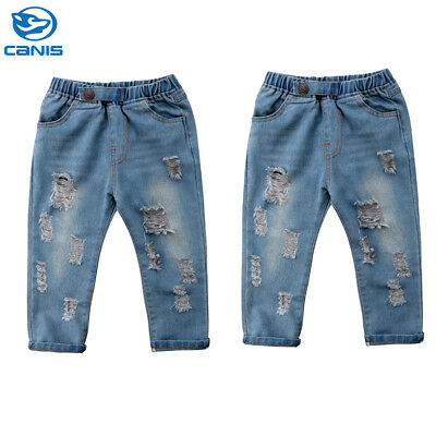 AU Toddler Kids Baby Boys Girls Ripped Denim Jeans Pants Trousers Clothes 2-6Y