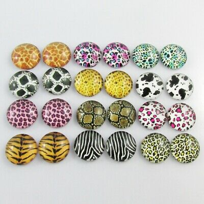 Glass Dome Animal Skin Cabochon 12mm Select 10 or 20 pieces in random pairs