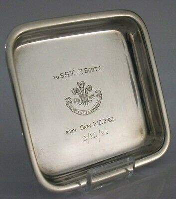 Solid Silver Chester Yeomanry Military Dish 1924 Antique
