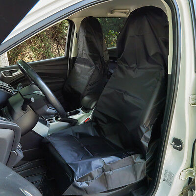 2x Waterproof Throw Over Front Car Seat Covers Slip On Black Protector Seat Mats