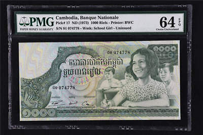 1973 Cambodia Banque Nationale 1000 Riels Pick#17 PMG 64 EPQ Choice UNC
